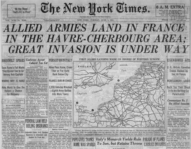 New york times front page from june 6, 1944 with